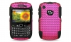BlackBerry 8520 Curve 2 Hybrid Case Black Skin & Pink Apex Rubber Case