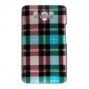 HTC HD 2 Design Crystal Blue, Green Checkers Plaid Print Snap On